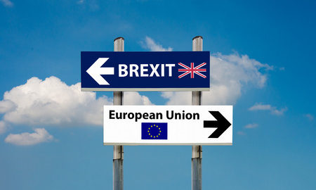 57046800 - a road signs eu and brexit and a blue sky